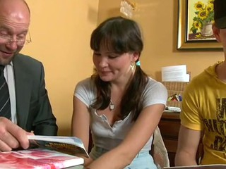 Teacher is pounding hottie wildly on the kitchen table