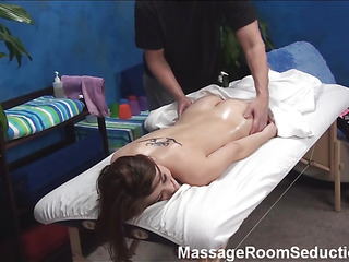 Fashionable sporty male masseur gives great intimate massage to pretty dark brown chick making her aroused so much from it! This Chab is in anticipation of nailing the hottie and that playgirl doesn't give him a chance of awaiting.