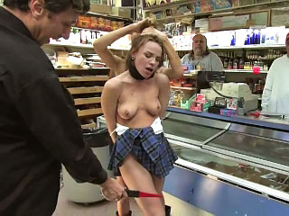 Scorching hot European babe gets tied up and fucked in public