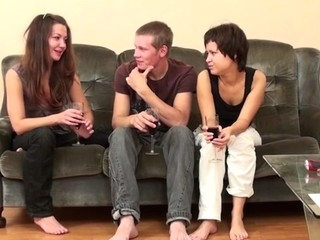 Two legal age teenager and concupiscent harlots have a joy fucking with a concupiscent dude