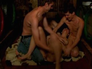 Busty dark brown starts hawt threesome inside the dark room