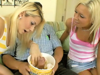 Two excellent legal age teenagers get drilled by one big wang in all holes
