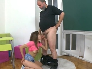 Mature teacher is subduing young hottie's wild beaver