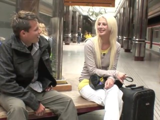 Hooking up with a hot golden-haired teeny in the midst of a subway station this stud had no idea they'd end up at his..
