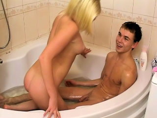 Nice-looking golden-haired legal age teenager engulfing and getting screwed hard