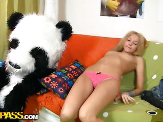 This toys porn movie starts in a very virginal way - a cute legal age teenager angel is reading a book, leaning on her..