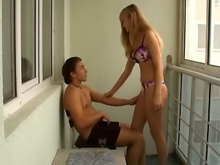 Blonde sucks his balls then has him stick his ramrod up her ass