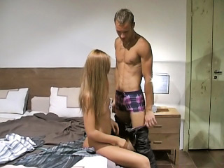 Long haired blonde playgirl strokes and sucks large white dick