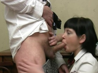Lusty honey is giving aged teacher a lusty oral-service session