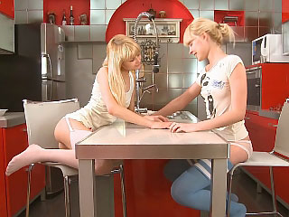 Blonde allies passionately kiss and marital-device constricted wet holes