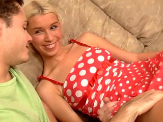 Gorgeous blonde teen engulfing and getting drilled hard