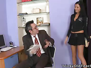 Jenny was in the teacher's office and helped him to pick up the papers, but in a short time that stud took off her..