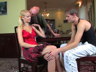 Adorable juvenile girl gets pussy screwed by two horny chaps