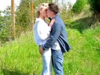Large juggs blond playgirl getting fucked by very large ramrod outdoors