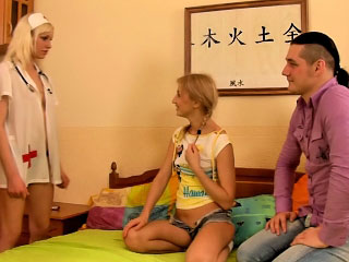 Charming fresh teen rimming and giving head to two bawdy guys