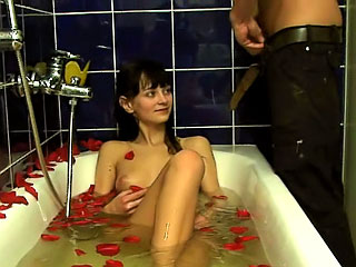 Amazing amateur darksome brown sucking and getting gaped hard